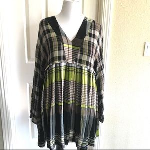 Free People Oversized Tunic Plaid Babydoll